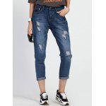 cheap Mid Waist Hole Ripped Capri Jeans