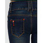 High Rise Cuffed Skinny Jeans - DEEP BLUE