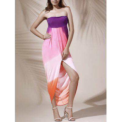 Strapless Color Block Hollow Out Slit Dress For Women