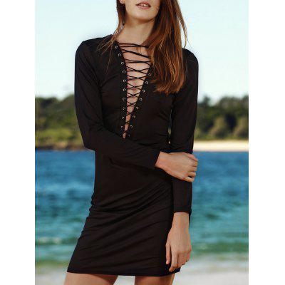 Sexy Long Sleeve Criss-Cross Cut Out Women's Dress