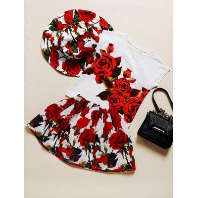 Sweet Floral Hat + T-Shirt + Skirt Girl's Three Piece Suit
