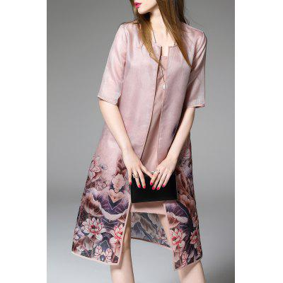 Floral Print Cardigan and Elegant Fitting Dress Twinset