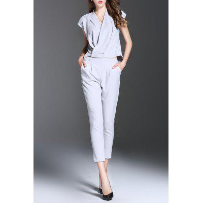 V Neck Solid Color Convertible Jumpsuit