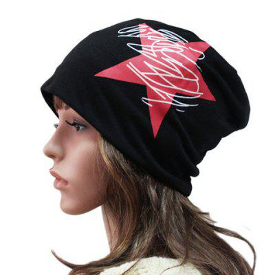 Big Red Five-Pointed Star and Scrawl Pattern Beanie For Women