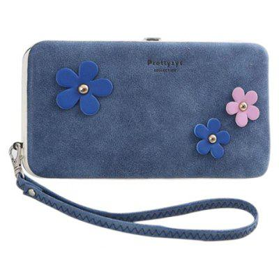 Sweet Hasp and Flower Design Clutch Wallet For Women