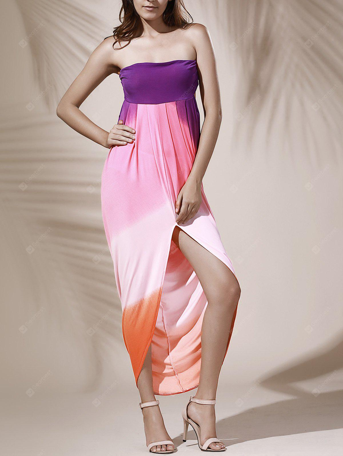 Bohemian Strapless Color Block Hollow Out Slit Dress For Women