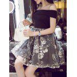 Off-The-Shoulder Organza Spliced Floral Ball Gown Dress - BLACK