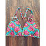 cheap Stylish Halter Neck Printed Bandage Women's Bikini Set
