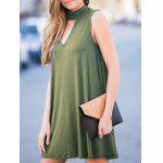 Buy Stylish Keyhole Neckline Sleeveless Solid Color Dress Women ARMY GREEN