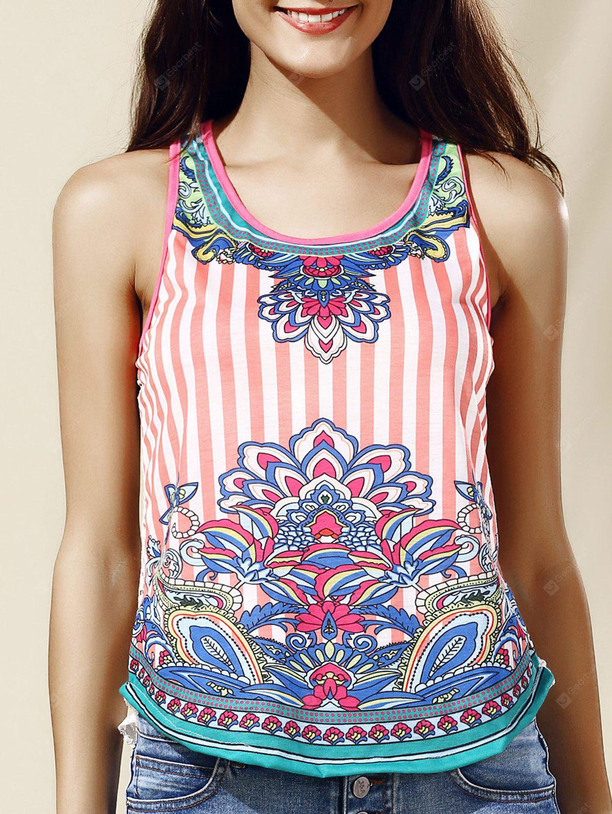 Chic Women's Scoop Neck Lace Ethnic Print Tank Top