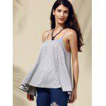 Buy Chic Women's Backless Pure Color Spaghetti Strap Tank Top 2XL GRAY