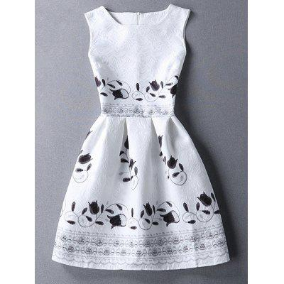 Round Collar Sleeveless Floral Print Dress