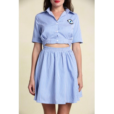 Hollow Out Short Sleeve Striped Shirt Dress