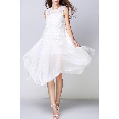 Lace Bodice Irregular White Dress