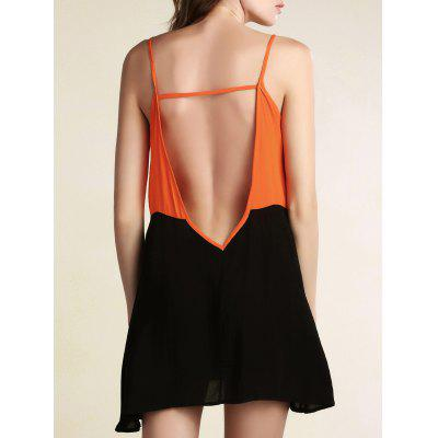 Buy BLACK Stylish Cami Sleeveless Color Block Backless Women's Dress for $16.71 in GearBest store