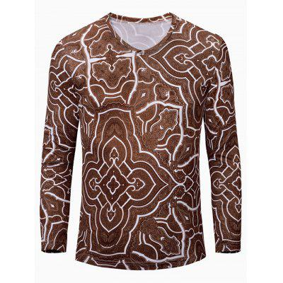 Casual Geometric Figure Printed Long Sleeves T-Shirt For Men