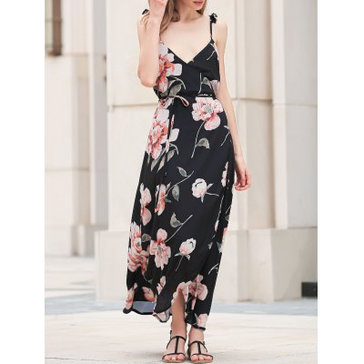 Trendy Spaghetti Straps Floral Print Maxi Dress For Women