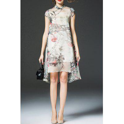 High Low Floral Cheongsam Dress