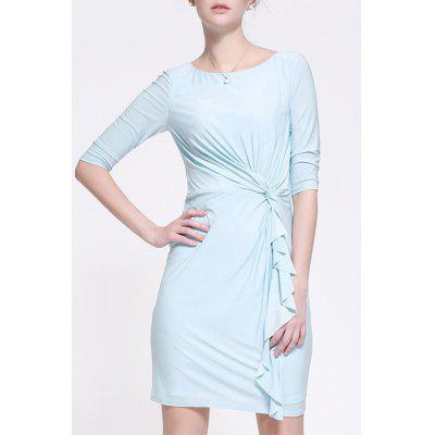 Twist Fitting Solid Color Dress