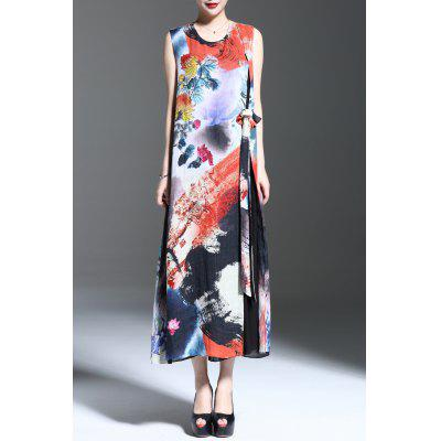 Floral Print Slit Sleeveless Midi Dress