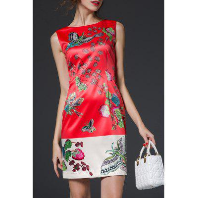 Jacquard Sheath Floral Dress