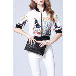 Floral Ribbed Jacket - WHITE