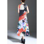 cheap Floral Print Slit Sleeveless Midi Dress