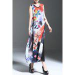 Floral Print Slit Sleeveless Midi Dress deal