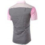 Buy Turn-Down Collar Ombre Stripe Splicing Design Short Sleeve Shirt Men XL PINK
