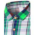 Turn-Down Collar Color Block Plaid Design Short Sleeve Shirt For Men deal