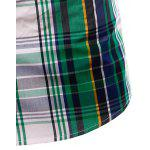 best Turn-Down Collar Color Block Plaid Design Short Sleeve Shirt For Men
