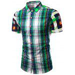 Turn-Down Collar Color Block Plaid Design Short Sleeve Shirt For Men