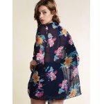 Stylish Collarless Bat-Wing Sleeve Floral Print Chiffon Women's Cover Up - BLUE