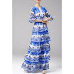 Printed Tiered Maxi Dress - BLUE