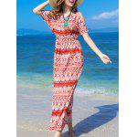 cheap Bohemian Split Sleeve Printed Women's Long Dress