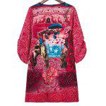 cheap Stylish V Neck 3/4 Sleeve Elephant Print Women's Dress
