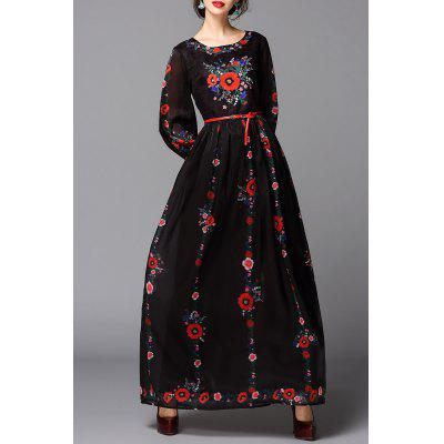 Flower Print Maxi Belted Dress