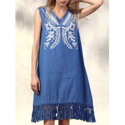 Stylish V Neck Sleeveless Retro Fringe Embroidered Women's Dress
