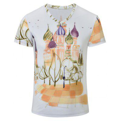 Castle Printed V Neck Tee