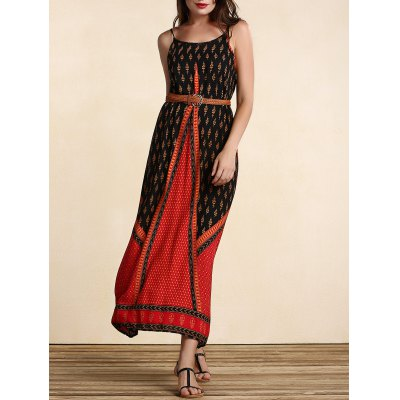Stylish Women's Belted Ethnic Print Dress