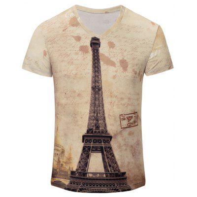 Buy V-Neck Iron Tower Print Color Block Short Sleeve T-Shirt For Men, COLORMIX, M, Apparel, Men's Clothing, Men's T-shirts, Men's Short Sleeve Tees for $9.27 in GearBest store