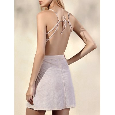 Trendy Spaghetti-Trägern ärmel Backless Solid Color Women  's Kleid
