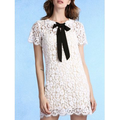 Trendy Round Collar Short Sleeve Bow Tie Lace Dress with Cami Dress Twinset For Women