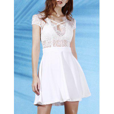 Plunging Neck Short Sleeve Lace Splice Backless Dress
