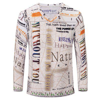 V-Neck 3D Letters Print Color Block Long Sleeve T-Shirt For Men