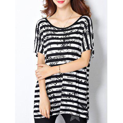 Trendy Scoop Neck Striped Letter Print Short Sleeve Women's Tee