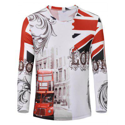 V-Neck 3D England Flag Print Color Block Long Sleeve T-Shirt For Men