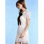 Trendy Round Collar Short Sleeve Bow Tie Lace Dress with Cami Dress Twinset For Women - WHITE