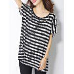 Trendy Scoop Neck Striped Letter Print Short Sleeve Women's Tee deal