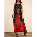 cheap Stylish Women's Belted Ethnic Print Dress